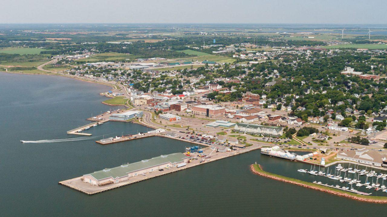 Aerial of wharf of Summerside, PEI